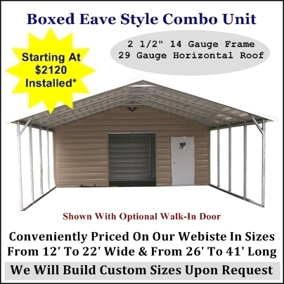 Boxed Eave Carport With Wtorage