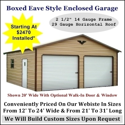 Enclosed Garage Boxed Eave Style
